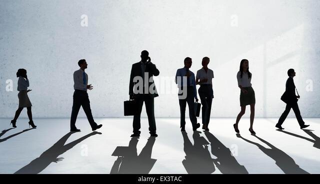 Silhouette Menschen Global Business Stadtbild Teamwork Konzept Stockbild
