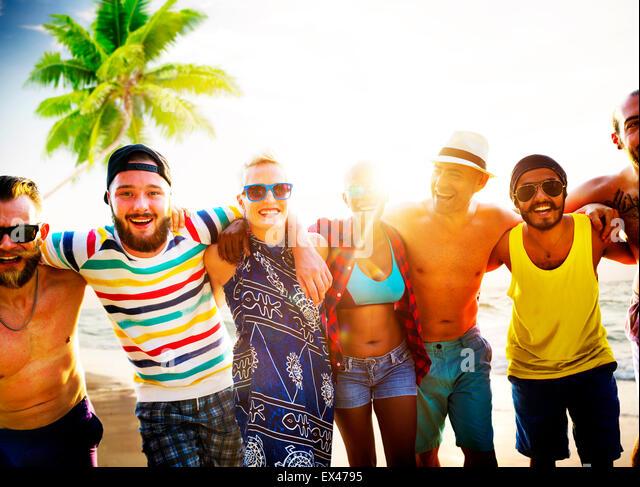 Diverse Leute Freunde Spaß Bonding Strand Sommer Konzept Stockbild
