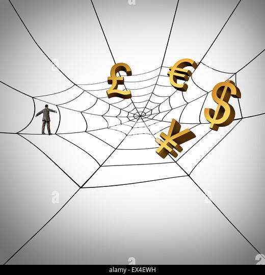 Web-Business-Konzept und global Geld aus dem Internet zu verdienen, als Geschäftsmann zu Fuß auf einer Stockbild