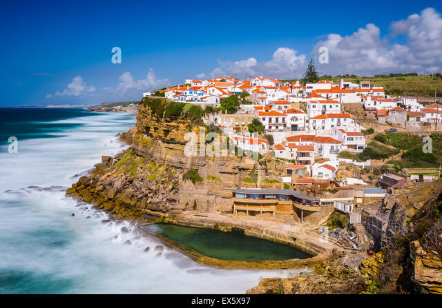 Azenhas Do Mar, Portugal Stadt am Meer. Stockbild