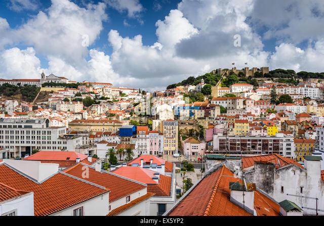 Lissabon, Portugal alte Stadt Skyline. - Stock-Bilder