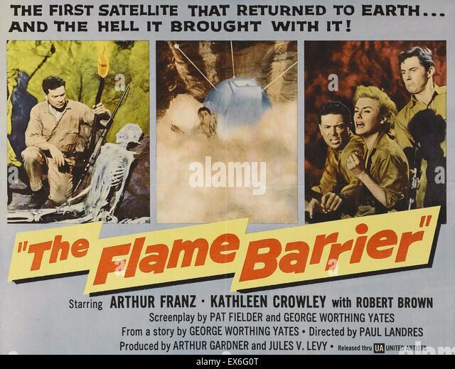 Der Science-Fiction-Katastrophenfilm Flamme Barriere (1958) Stockbild