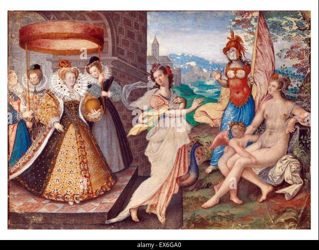 Königin Elisabeth i. von England und die drei Göttinnen von Isaac Oliver 1590 Stockbild