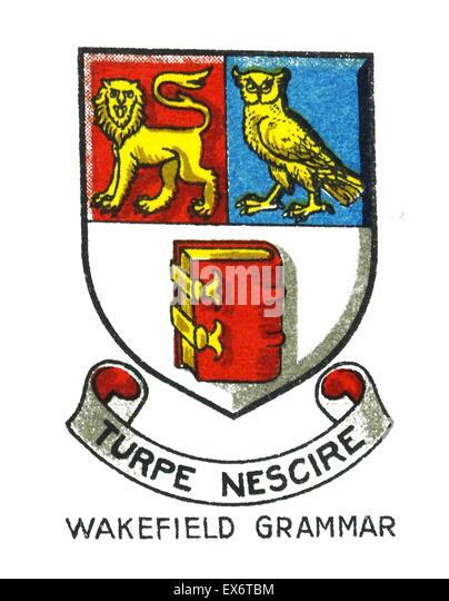 Emblem der Queen Elizabeth Grammar School (QEGS) ist eine unabhängige, öffentliche Schule für Jungen Stockbild