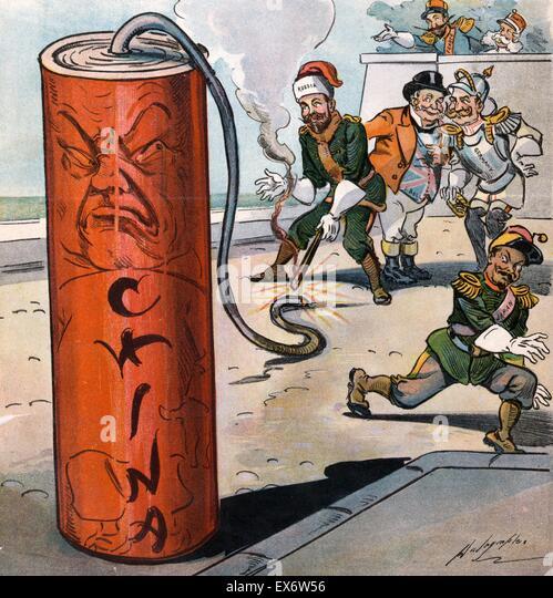 Politischer Satire, die Darstellung der Herrscher von Deutschland, Frankreich, Österreich, Japan und John Bull Stockbild