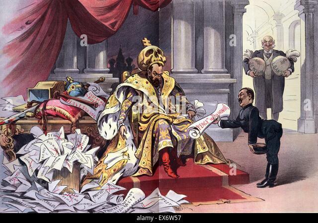 Politische Satire zeigt Nicholas II, Kaiser von Rußland, auf einem Thron sitzend, tragen einen großen Stockbild