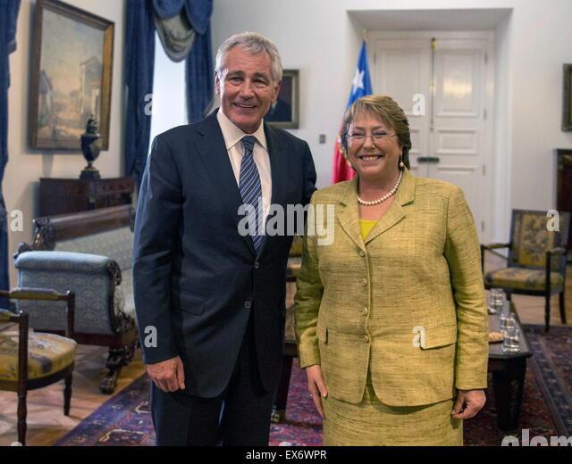 Chuck Hagel US-Verteidigungsminister, trifft die chilenische Präsidentin Michelle Bachelet Stockbild
