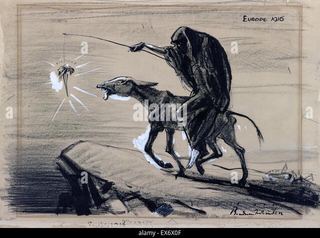 Politische Satire Cartoon Darstellung Tod eine abgemagerte Esel reiten und führt es in Richtung Abgrund baumelt Stockbild