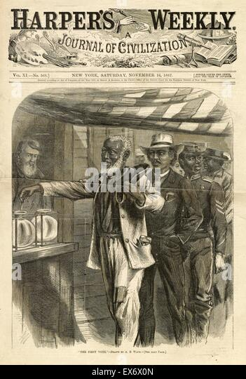 Politische Satire Holzschnitt Gravur Abbildung Darstellung einer Warteschlange der afrikanisch-amerikanischen Männer Stockbild