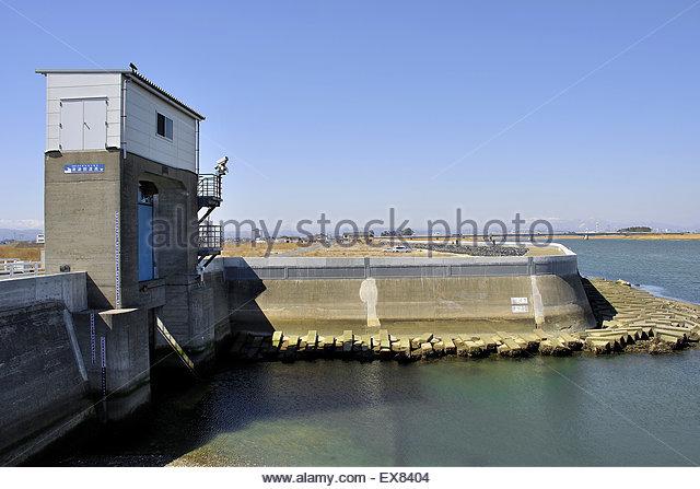 Japan, Tohoku-Region, Präfektur Miyagi, Erneuerung der Natori River nach Umweltschäden. Stockbild