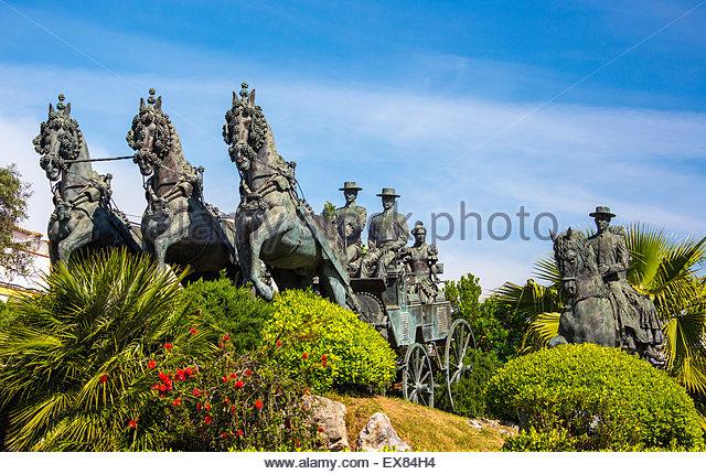 Spanien, Provinz Cadiz, Andalusien, Jerez De La Frontera, Blick auf Caballo Monument. Stockbild