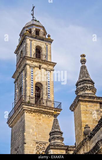 Glockenturm der Kathedrale Jerez Andalusien Spanien Stockbild