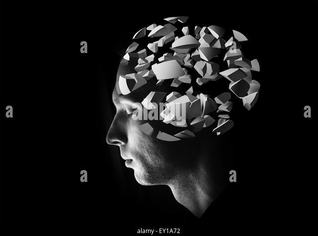 Männliche Kopfprofil mit 3d Explosion Gehirn Fragmente auf schwarzem Hintergrund Stockbild