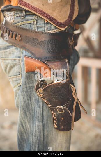 Beschnitten, Nahaufnahme von Cowboy Holster auf Wild-West-Film-Set, Fort Bravo, Tabernas, Almeria, Spanien Stockbild