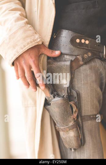 Beschnitten, Nahaufnahme von Cowboys Pistolenhalfter auf Wild-West-Film-Set, Fort Bravo, Tabernas, Almeria, Spanien Stockbild