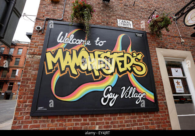 Kanal Straße Manchester Homosexuell Dorf England UK Stockbild