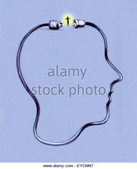 Stecker und Buchse auf elektrische Kabel Abschluss Profil der Kopf des Mannes Stockbild