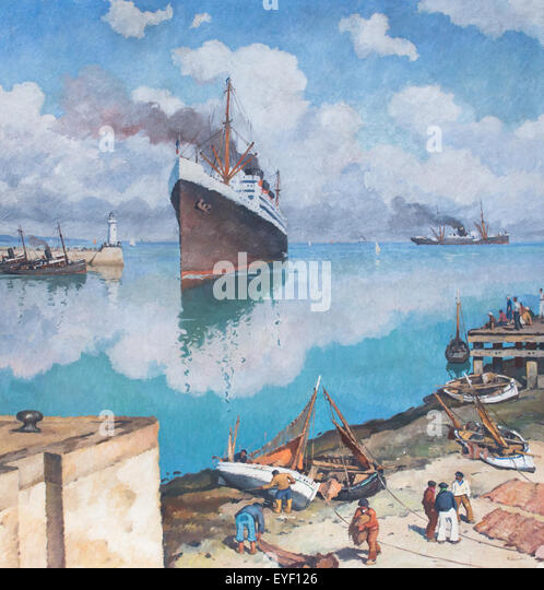 Ankunft am Hafen Liner 12.07.2013 - Sammlung des 20. Jahrhunderts Stockbild