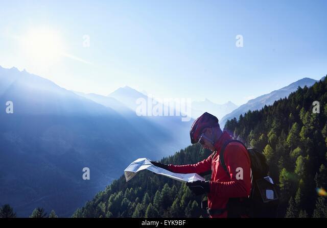 Mountainbiker im Besitz Karte, Wallis, Schweiz Stockbild