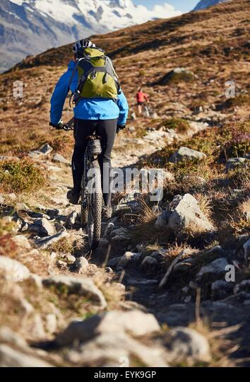 Mountainbiker, Wallis, Schweiz Stockbild