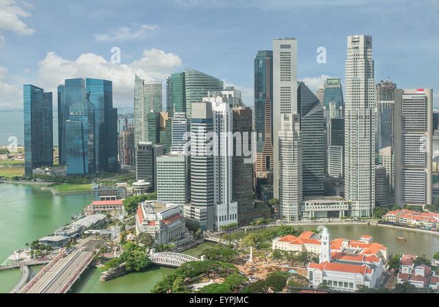 Skyline von Singapur. Geschäftsviertel Singapurs. Stockbild