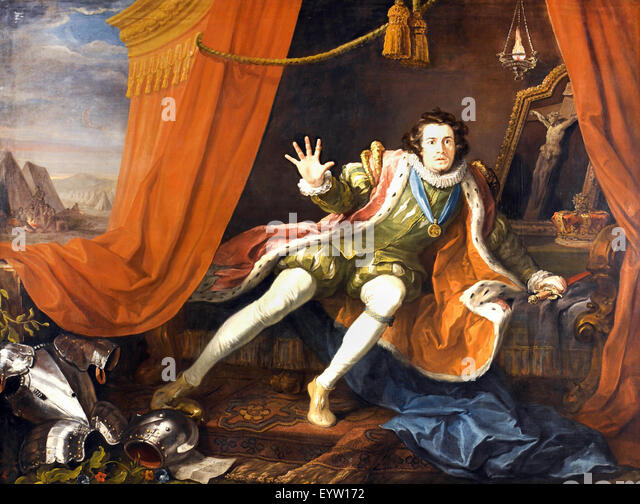 William Hogarth, David Garrick als Richard III. Ca. 1745. Öl auf Leinwand. Walker Art Gallery, Liverpool, England. Stockbild