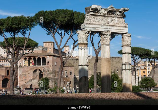 Basilika Aemilia, in der Nähe von Trajans Märkte, antiken Forum Romanum, UNESCO-Weltkulturerbe, Rom, Latium, Stockbild