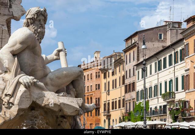 Detail der Brunnen der vier Flüsse, Piazza Navona, Rom, Latium, Italien, Europa Stockbild