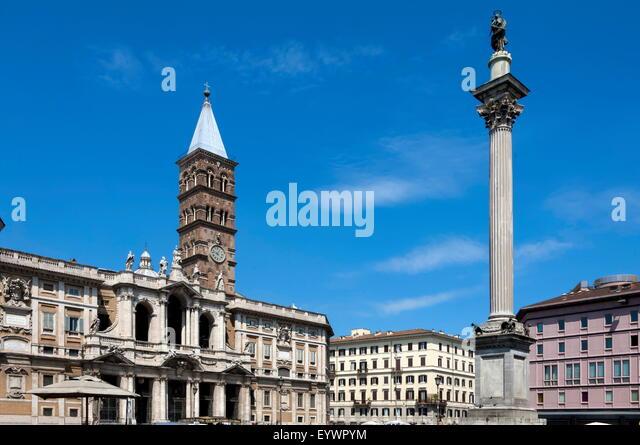 Marian Spalte und Basilika Santa Maria Maggiore, Rom, Latium, Italien, Europa Stockbild
