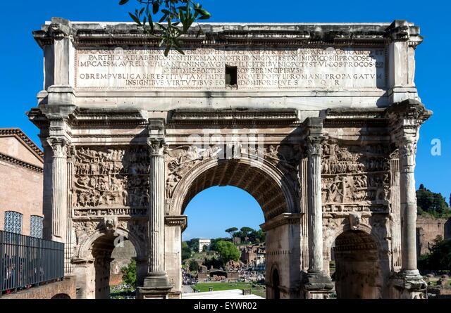 Bogen des Septimus Severus, antiken Forum Romanum, UNESCO-Weltkulturerbe, Rom, Latium, Italien, Europa Stockbild