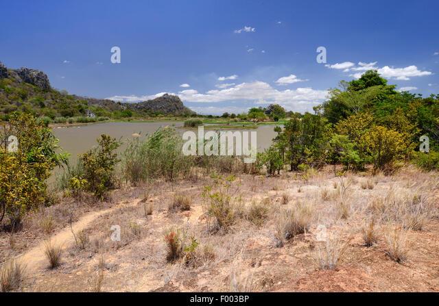 See am Iharana Bush Camp, Madagaskar, Antsiranana, Ankarana Nationalpark Stockbild