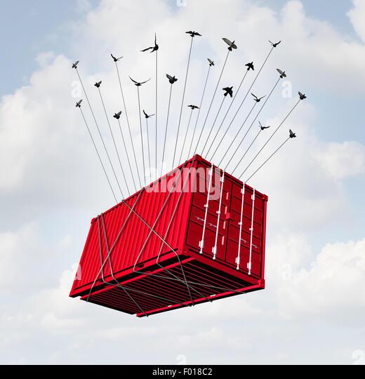 Air-Cargo-Konzept als Metall Transportbehälter mit einer Gruppe von Vögel als surreale Lieferung und Übersee Stockbild