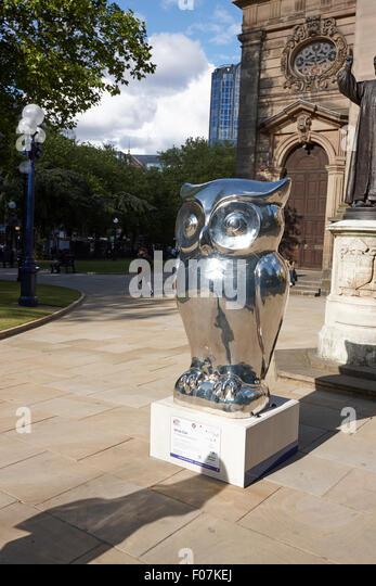 Eule Skulptur Bestandteil der großen Schrei-Kunst-Event Birmingham, UK Stockbild