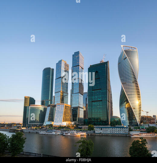 Moskau-Business-Center bei Sonnenaufgang Stockbild