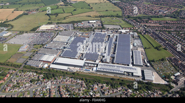 Luftaufnahme der Bentley Motors Luxus Auto Produktionsfabrik in Crewe, Cheshire, UK Stockbild