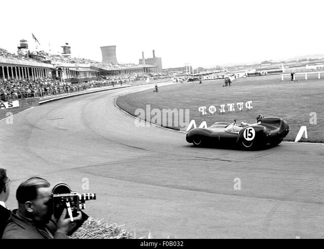 Aintree internationale Sportscar Rennen 18. Juli 1959. Graham Hill Lotus 15 Höhepunkt Rennsieger. Stockbild