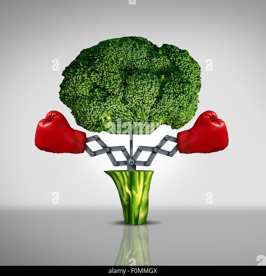 Superfood Schutz Gesundheitswesen Konzept und Krebs Krankheit kämpfen Nahrung Symbol als Symbol eine gesunde Stockbild