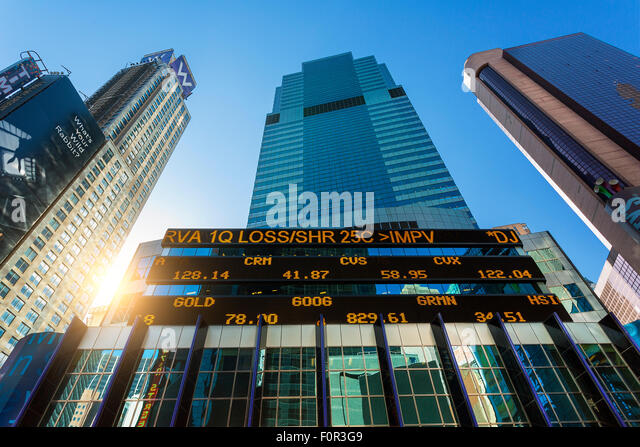 New York City, Börsenticker bei Morgan Stanley Building Stockbild