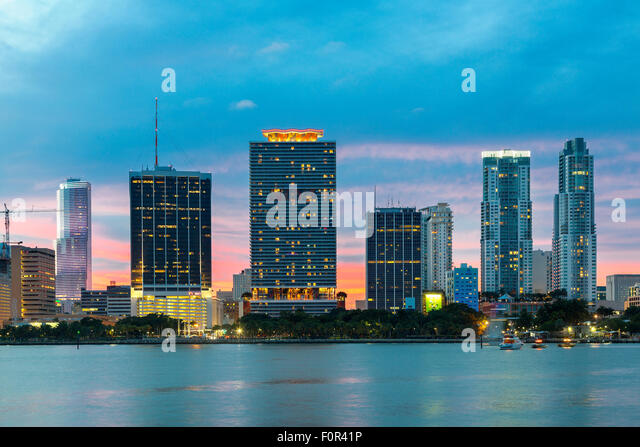 Florida, Miami Skyline bei Sonnenuntergang Stockbild