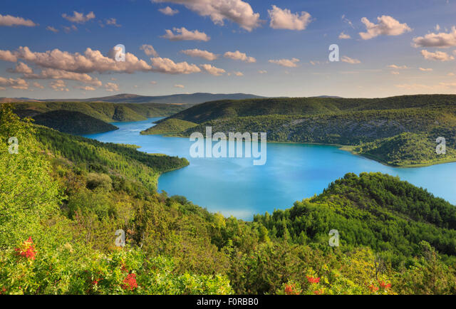 Flusslandschaft. Natioal Park Krka in Kroatien Stockbild