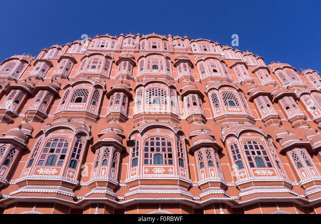 Die Fassade des Palastes der Winde oder Hawa Mahal, in Jaipur, Indien Stockbild