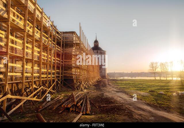 Kirillo-Beloserski-Kloster. Umbauarbeiten Stockbild
