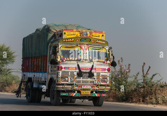 Rajasthan, Indien. Sawai Madhopur und Agra. LKW-Colouful eingerichtet. Stockbild