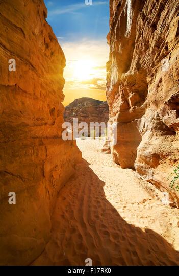 Felsige Schlucht in der Wüste am sonnigen Tag Stockbild