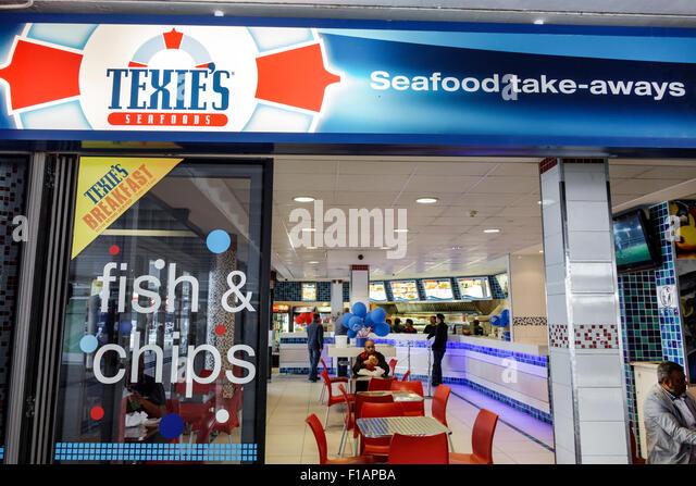 Cape Town South seafoods Afrika's African city centre Adderley Street texie vorderen Eingang Restaurant Fisch Stockbild