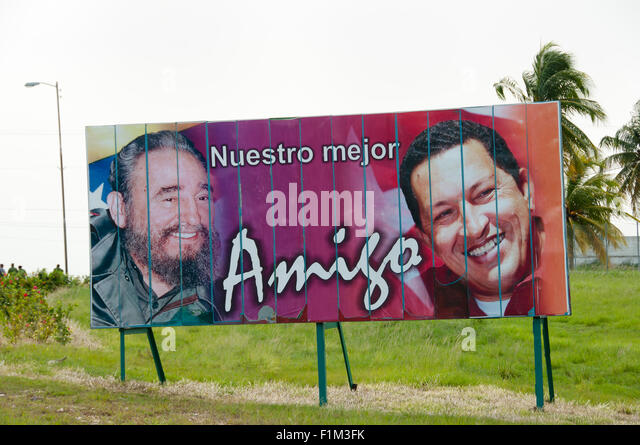 Plakat-Darstellung Fidel Castro & Hugo Chavez - Havanna - Kuba Stockbild