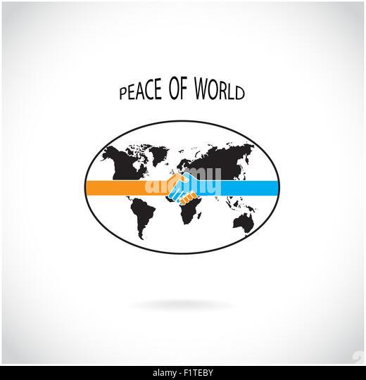 Handshake-abstrakte Design-Vorlage. Frieden der Welt-Konzept. Stockbild