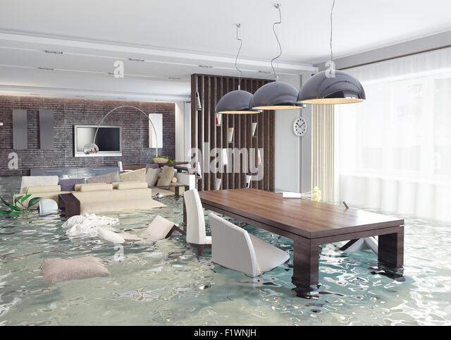 Überschwemmungen in luxuriösem Interieur. 3D Kreativkonzept Stockbild