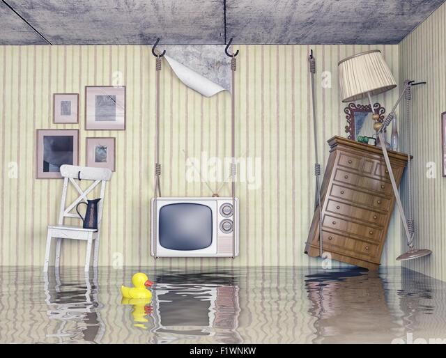 Alltag in der überfluteten Wohnung. 3D-Konzept Stockbild