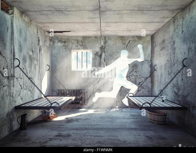Flucht aus einer Gefängniszelle. 3D-Konzept Stockbild